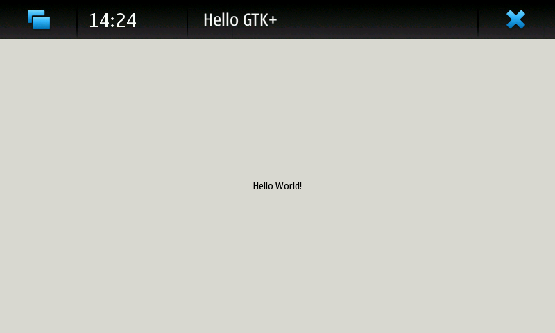 Screenshot of test application showing 'Hello World!' in the centre of an unthemed window