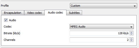 Screenshot of audio codec settings tab