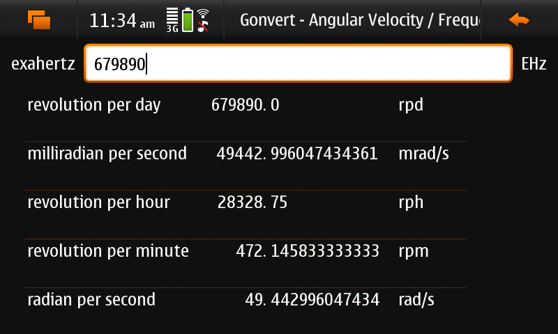 Screenshot of Gonvert showing 'unit conversion' view