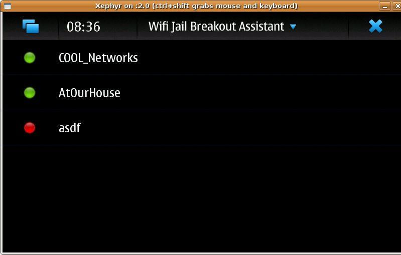Screenshot of Wifi Assistant launch list