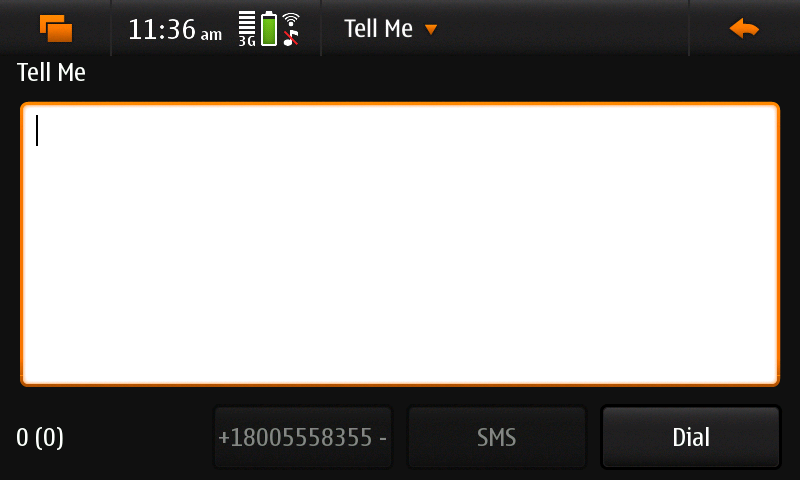 Screenshot of DialCentral showing 'call' view