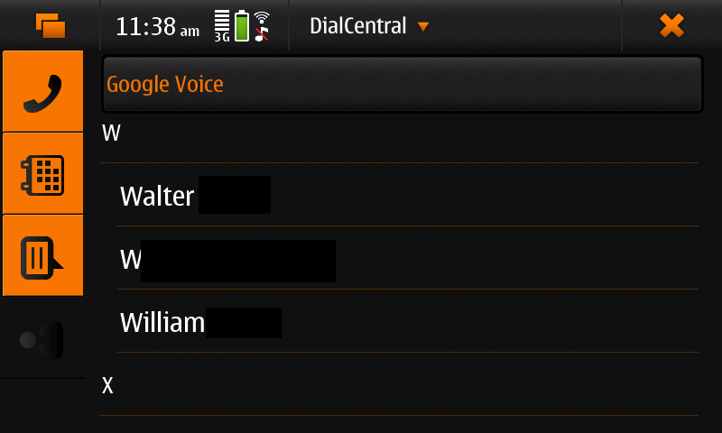 Screenshot of DialCentral showing 'contacts' view