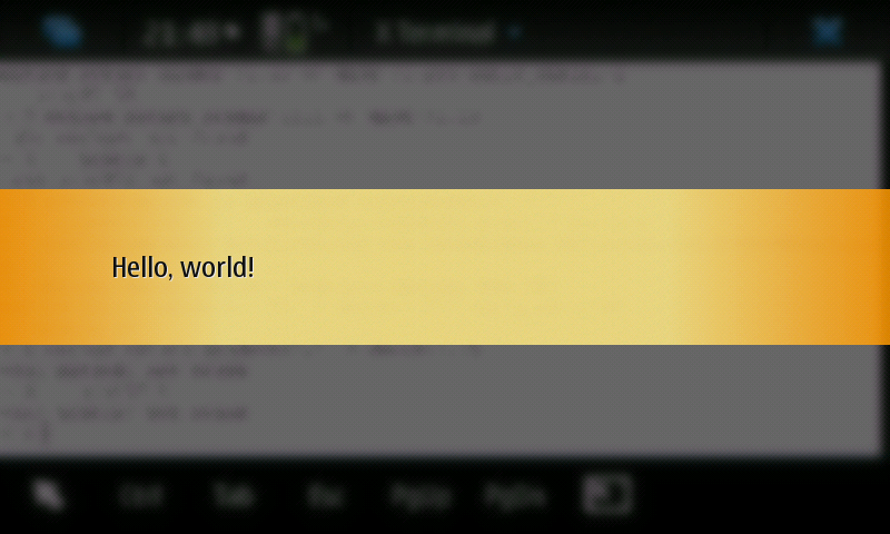 Screenshot of Note dialog showing text 'Hello, world!'