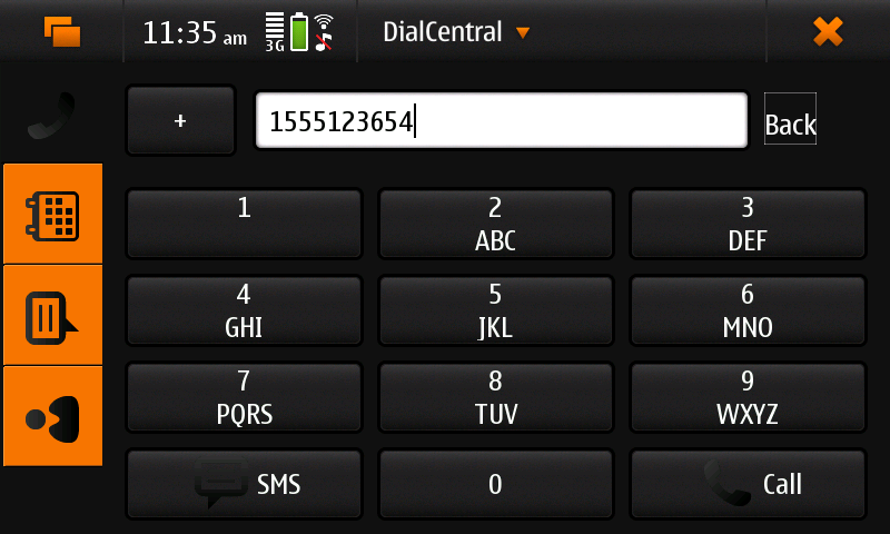 Screenshot of DialCentral showing 'dialpad' view