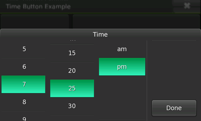 Screenshot of time selector