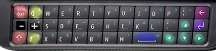 Photo of N900 keyboard with UQM keymap