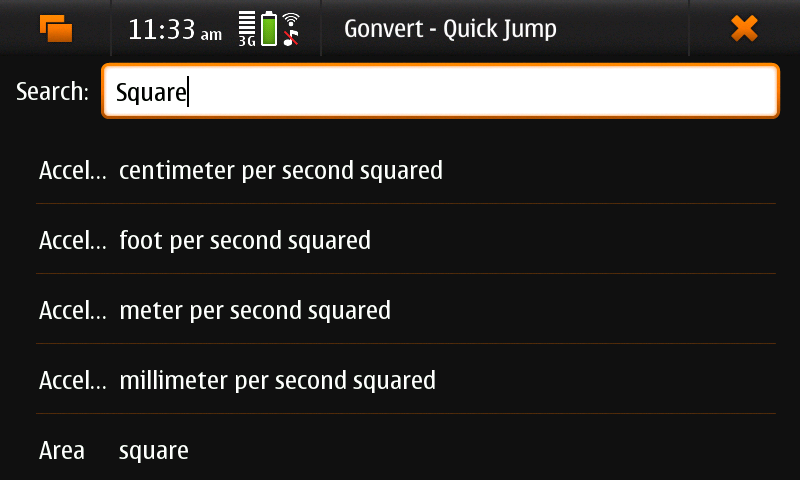 Screenshot of Gonvert showing 'quick jump' view