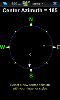 Screenshot of the Orrery azimuth compass
