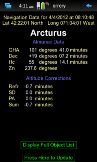 Screenshot of the Sextant Navigation Single Object Page