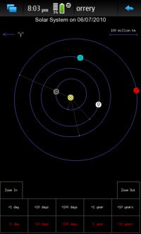 Screenshot of to-scale solar system view