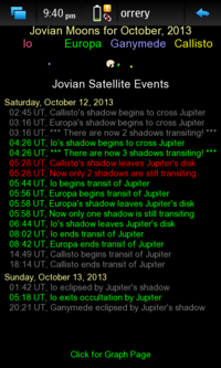 Screenshot of the Jovian Moon Events Page
