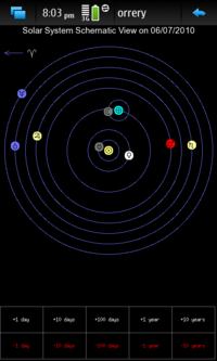 Screenshot of schematic solar system view