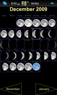 Screenshot of monthly moon calendar